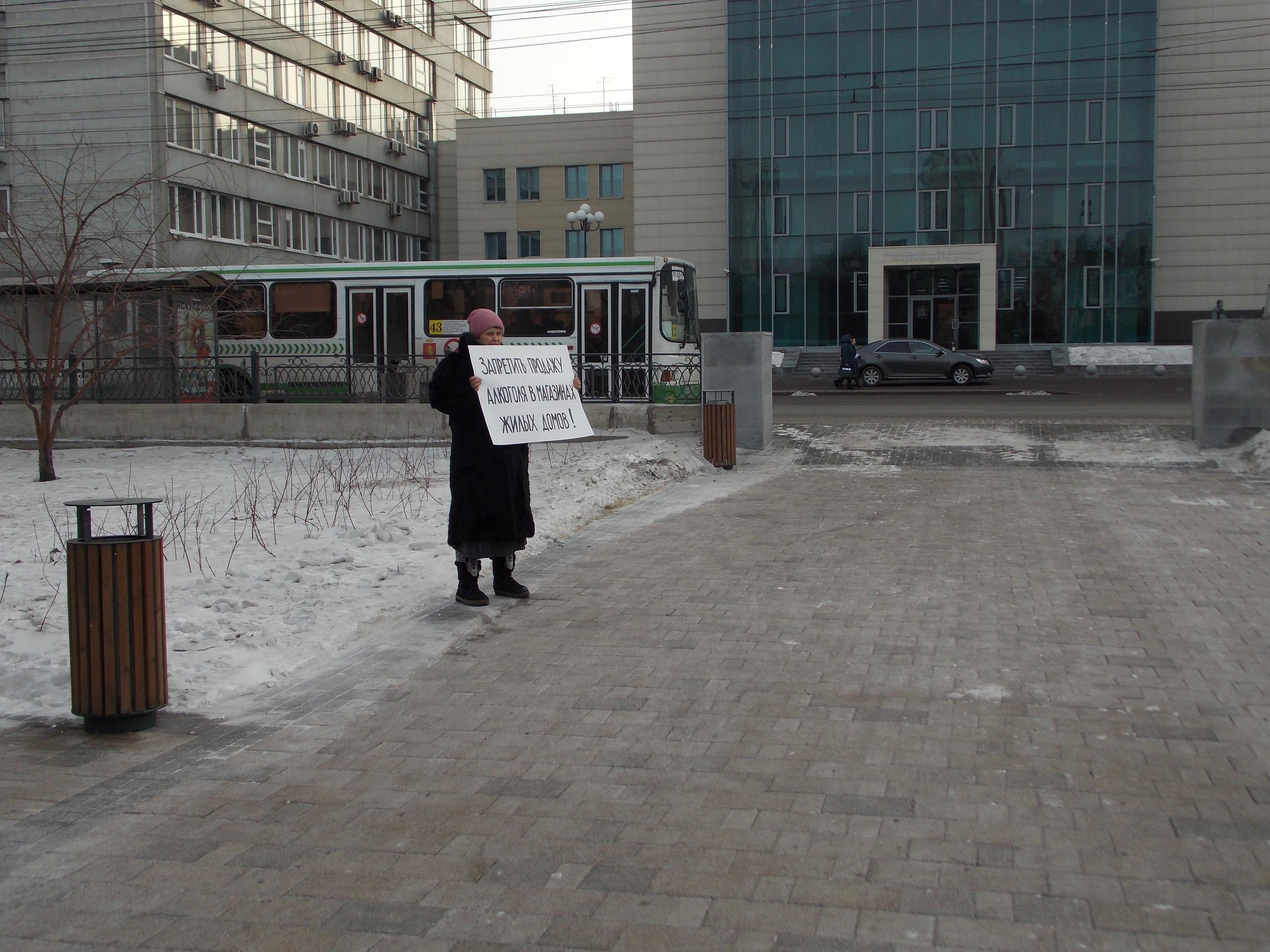 Красноярцы провели пикет за запрет алкогольной торговли в жилых дома